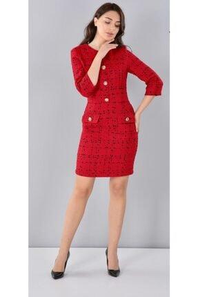 THE NUQUELLA Kadın Kırmızı Kumaş Elbise 1