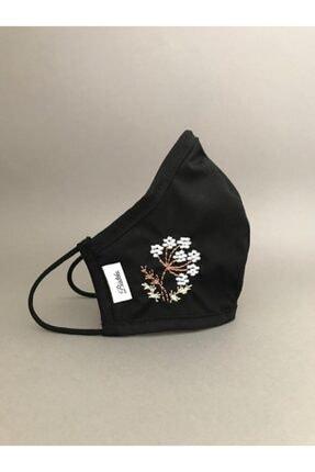 Decordy Siyah Çiçek Nakışlı Yıkanabilir Bez Maske - Kadın 1