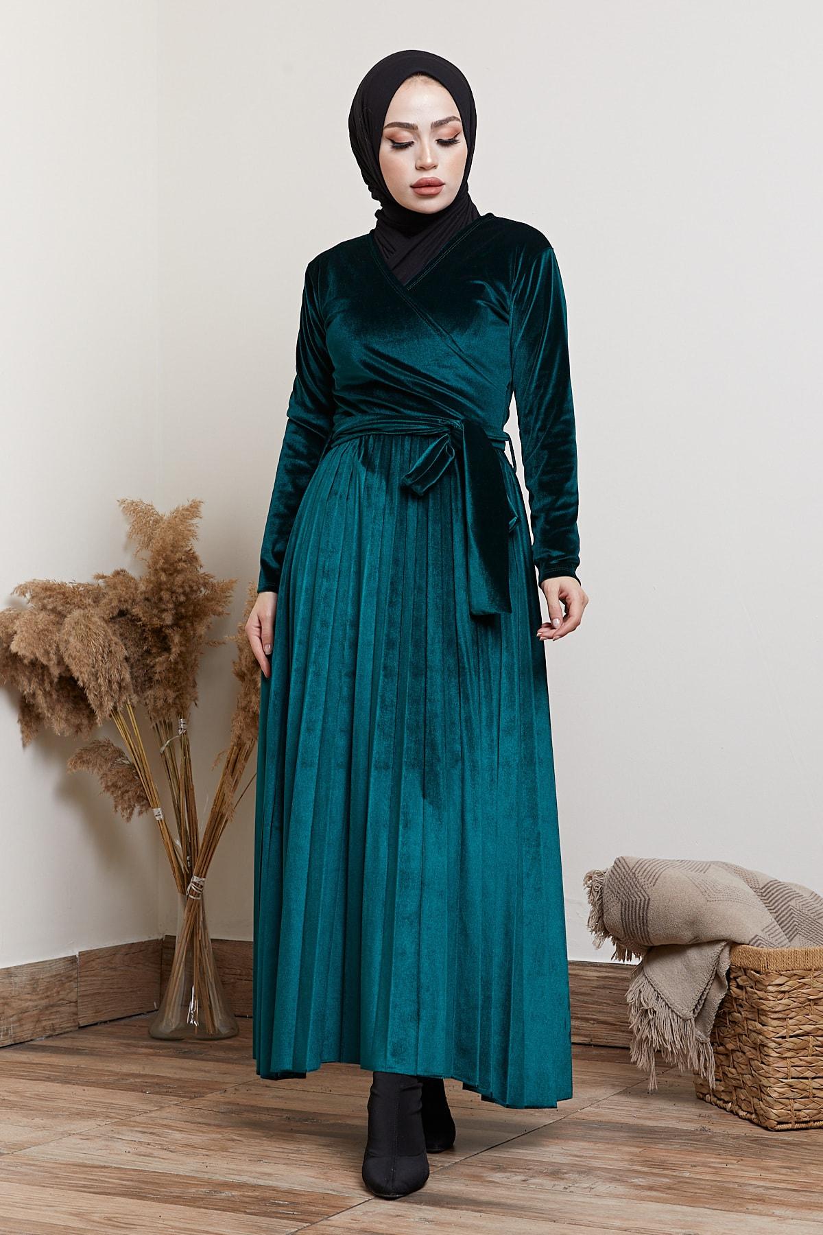 festmoda Kadın Zümrüt Kadife Piliseli Elbise