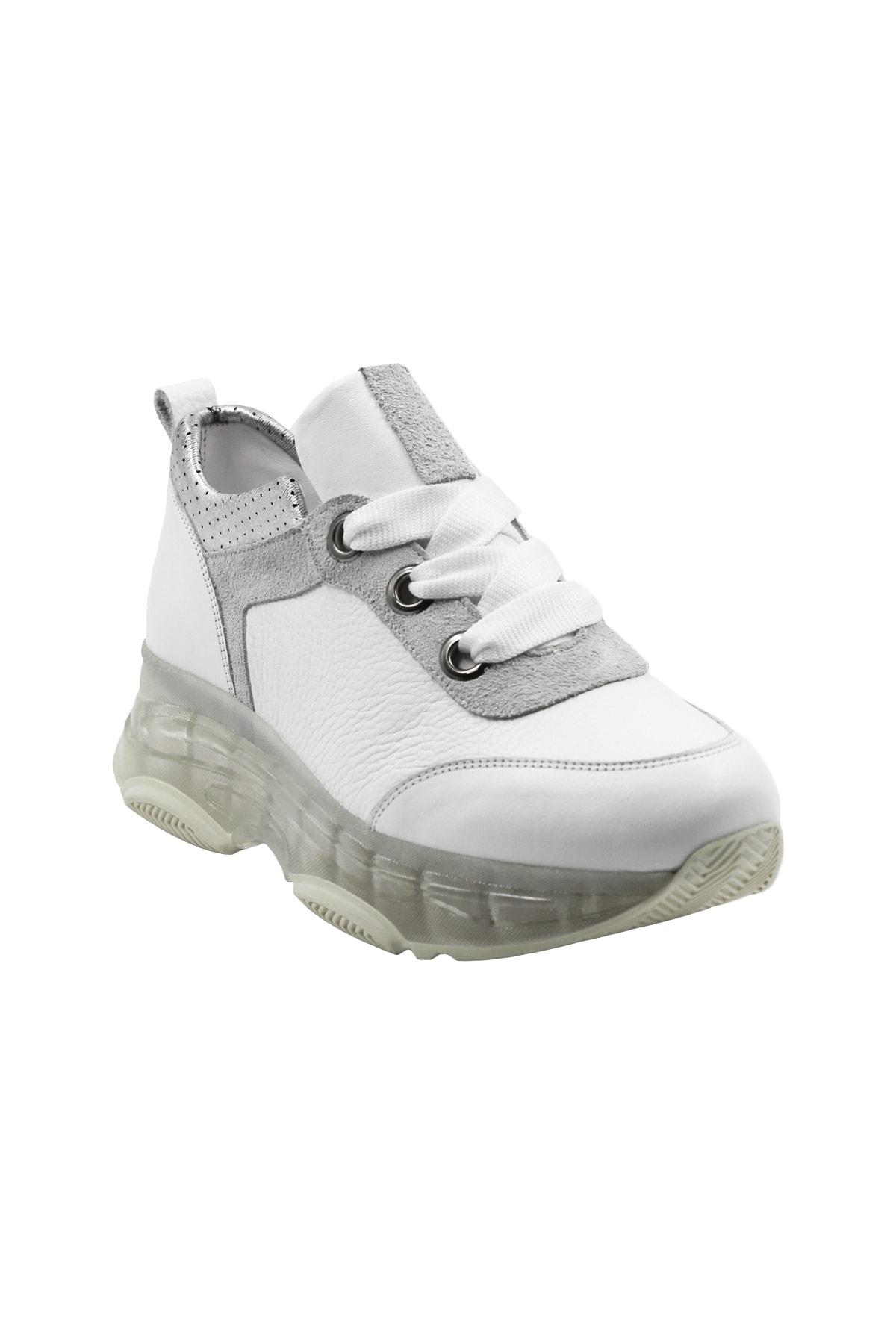 Abbondare Kadın Beyaz Bağcıklı Sneaker