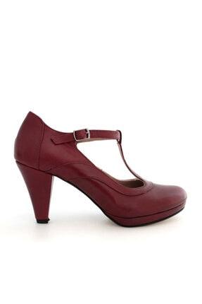 Beta Shoes Kadın Hakiki Deri Topuklu Ayakkabı Bordo 3