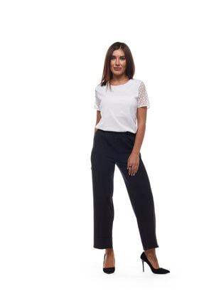 Kadın Siyah Duble Paça Beli Lastikli Pantolon dblsyh01