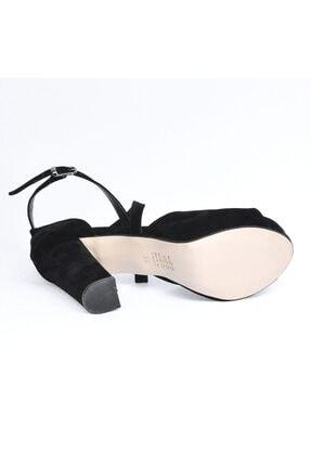 Ayakland Kadın Siyah Süet Abiye  Platform Topuk Ayakkabı 11 cm 3210-2058 4