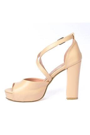 Ayakland Kadın Ten Cilt Abiye 11 cm Platform Topuk Ayakkabı 3210-2058 3