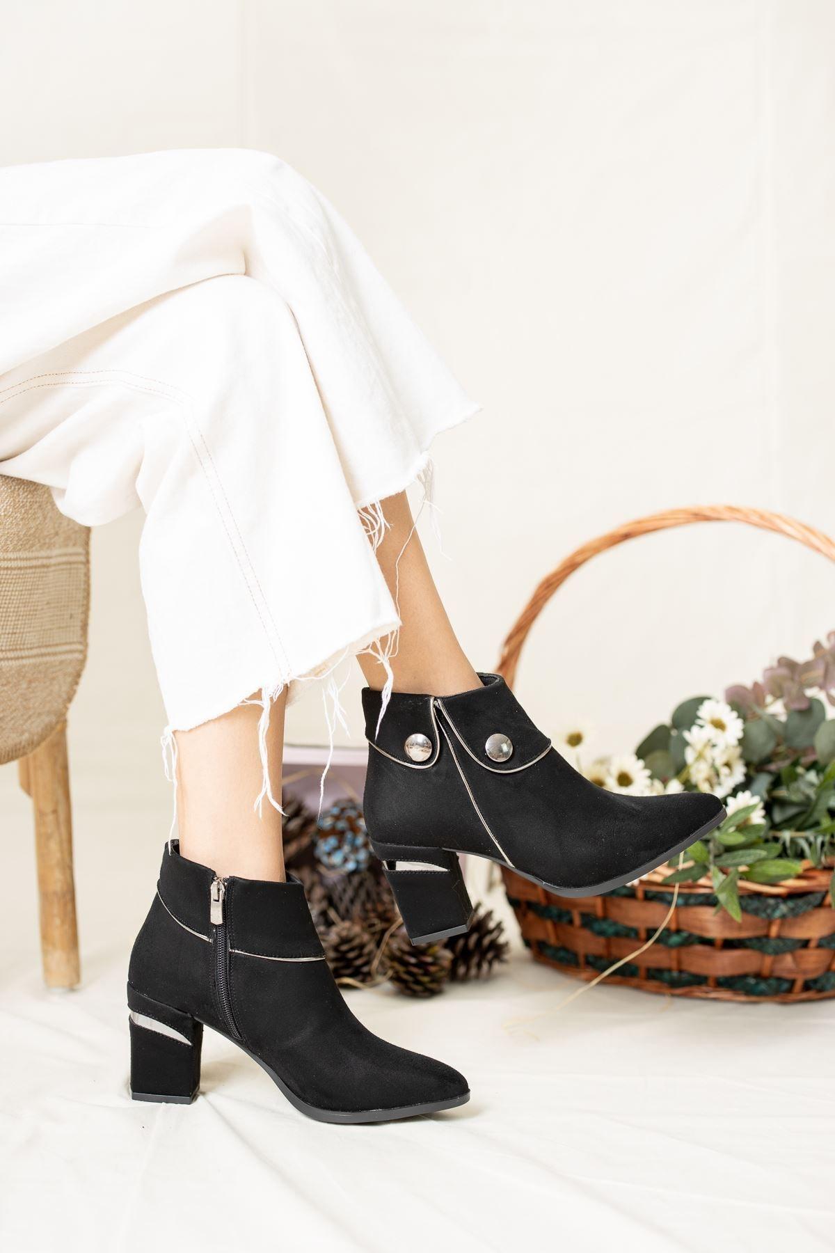 Geyik Giyim Kadın Siyah Daisy Lüks Süet Su Geçirmez Topuklu Bot