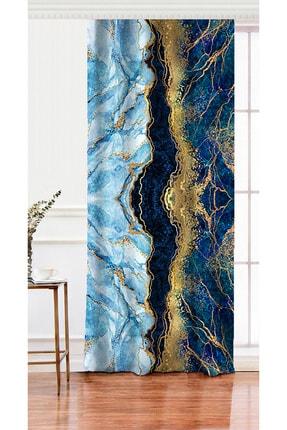 Realhomes Tek Kanat Altın Varaklı Mavi Zeminli Modern Salon Fon Perdesi 0