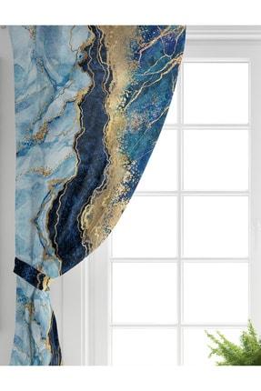 Realhomes Tek Kanat Altın Varaklı Mavi Zeminli Modern Salon Fon Perdesi 1