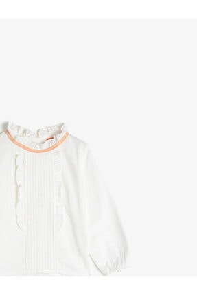 Koton Kız Bebek Ekru Dik Yaka Uzun Kollu Pamuklu Bluz 2