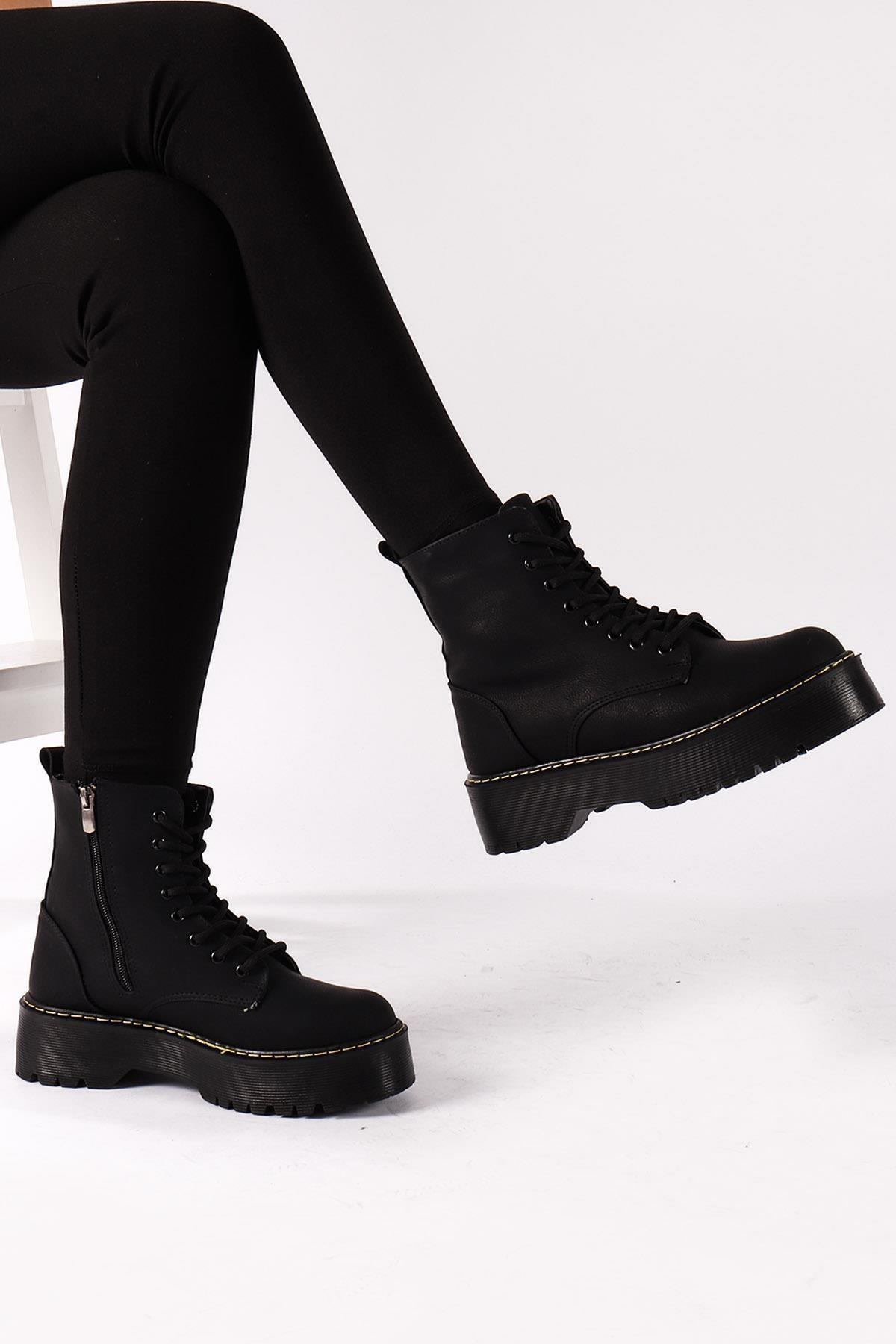 Moda Eleysa Kadın Siyah Harper Cilt Bot