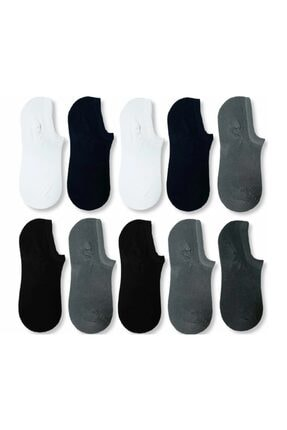 çorapmanya 10 Çift Erkek Çok Renkli Bambu Görünmez (sneaker) Spor Ayakkabı Çorabı 0