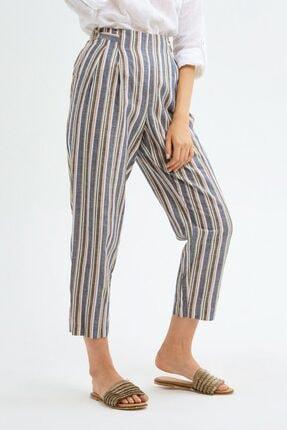 adL Kadın Camel Pileli Keten Pantolon 1