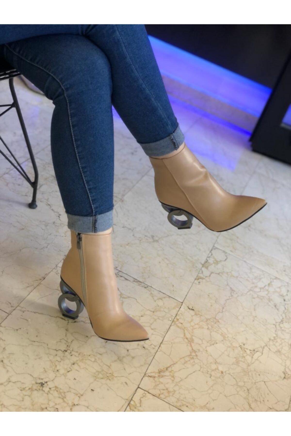Gazal Shoes Kadın Bej Lina Topuklu Bot