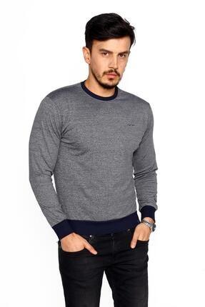 BESSA Erkek Gri Lacivert Bisiklet Yaka Mikro Polyester Likralı Sweatshirt 1