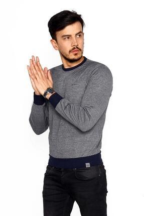 BESSA Erkek Gri Lacivert Bisiklet Yaka Mikro Polyester Likralı Sweatshirt 2