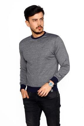 BESSA Erkek Gri Lacivert Bisiklet Yaka Mikro Polyester Likralı Sweatshirt 3
