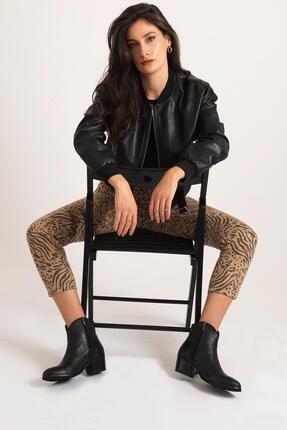CZ London Kadın Siyah Hakiki Deri Western Fermuarlı Bilek Boyunda Bot 3