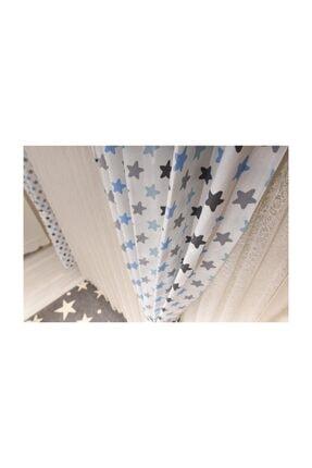 Odeon Mavi Gri Yıldızlı Çocuk Odası Fon Perde (2 Kanat) 2