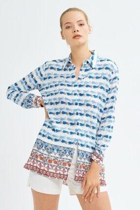 adL Kadın Mavi Uzun Kollu Gömlek 1