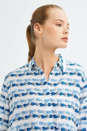 adL Kadın Mavi Uzun Kollu Gömlek 2