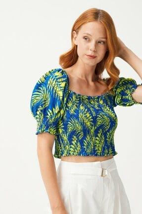 adL Kadın Yeşil Balon Kollu Gipeli Crop Bluz 1