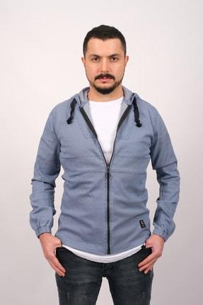 GAMBA Erkek Açık Mavi Kapüşonlu Fermuarlı Sweatshirt 0
