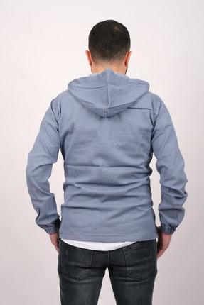 GAMBA Erkek Açık Mavi Kapüşonlu Fermuarlı Sweatshirt 3
