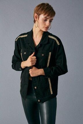 Robin Kadın Siyah Şerit Detaylı Jean Ceket 0