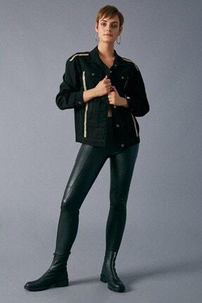 Robin Kadın Siyah Şerit Detaylı Jean Ceket 1
