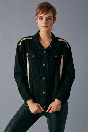 Robin Kadın Siyah Şerit Detaylı Jean Ceket 2