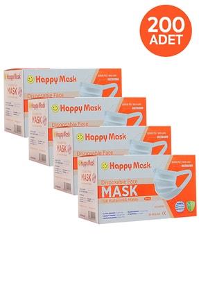 Happy Yumuşak Elastik Kulaklı 3 Katlı Telli Beyaz Cerrahi Maske 200 Lü 1