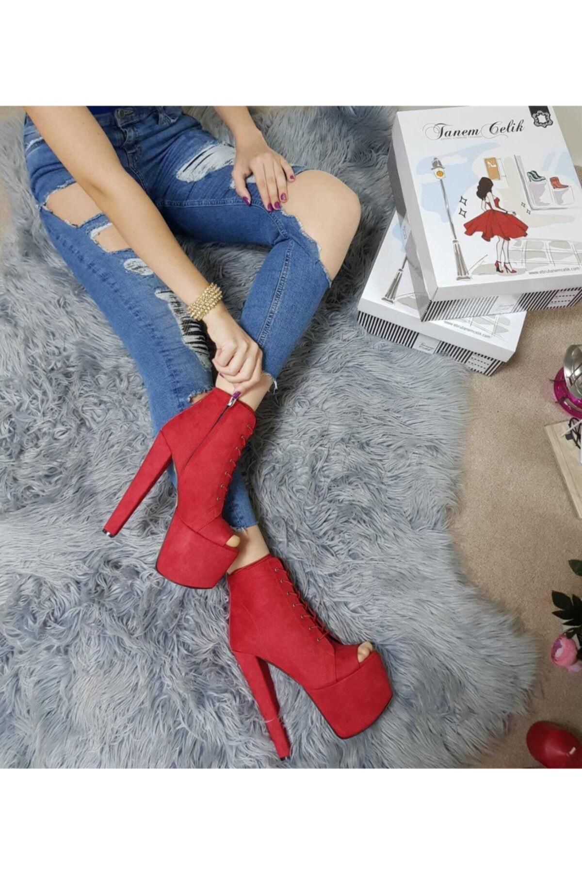 TANEM ÇELİK Kadın Kırmızı Süet Topuklu Ayakkabı