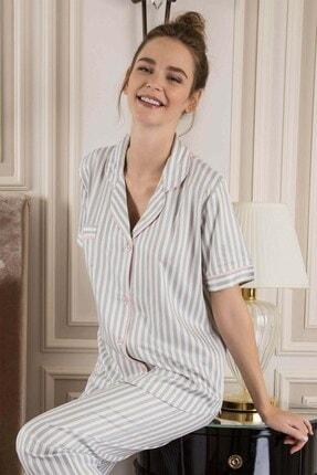 Lohusa Sepeti Kadın Beyaz Grey Line Lite Kadın Önden Düğmeli Pijama Takımı 799 1