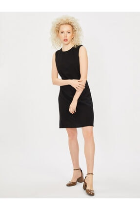 Vekem Kadın Siyah Kolsuz Klasik Kesim Krep Elbise 2