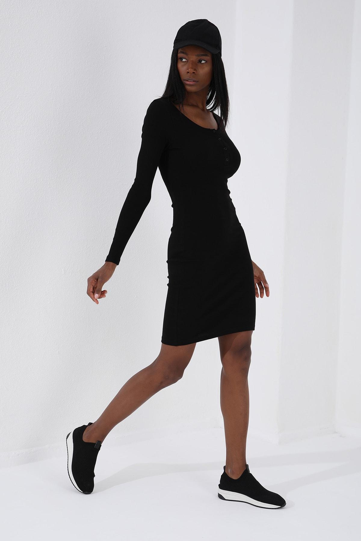 Tommy Life Patlı Yaka Detaylı  Siyah Kadın Kaşkorse Elbise 1