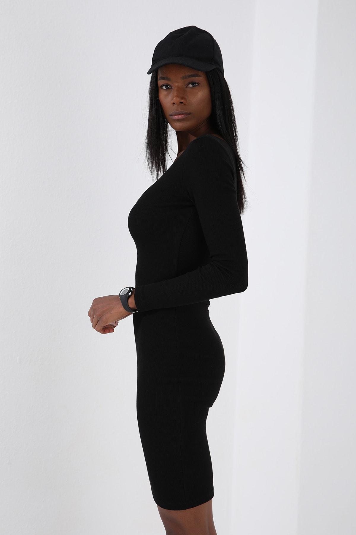 Tommy Life Patlı Yaka Detaylı  Siyah Kadın Kaşkorse Elbise 4