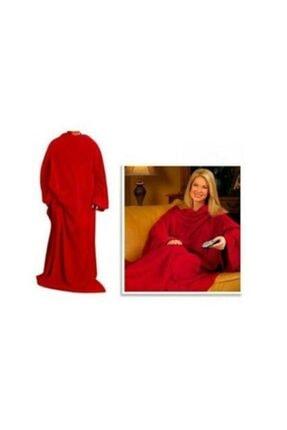 partikirtasiye Giyilebilir Kollu Polar Battaniye Kırmızı Lüks Battal Boy 0