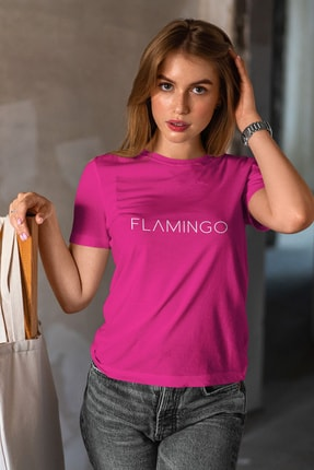 Flamingo Butik Kadın Fuşya Justflamingo Tshirt 0