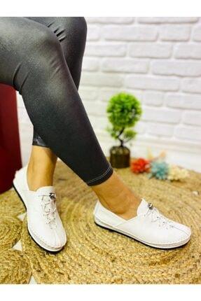 Öncerler Ayakkabı Kadın Beyaz Lastikli Bağcıklı  Deri  Ayakkabı 0