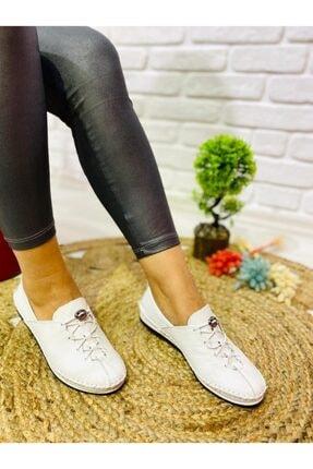 Öncerler Ayakkabı Kadın Beyaz Lastikli Bağcıklı  Deri  Ayakkabı 1