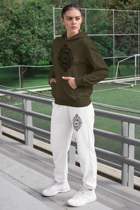 Angemiel Kadın Yeşil Eşofman Takımı Kapüşonlu Sweatshirt Beyaz Eşofman Altı 0