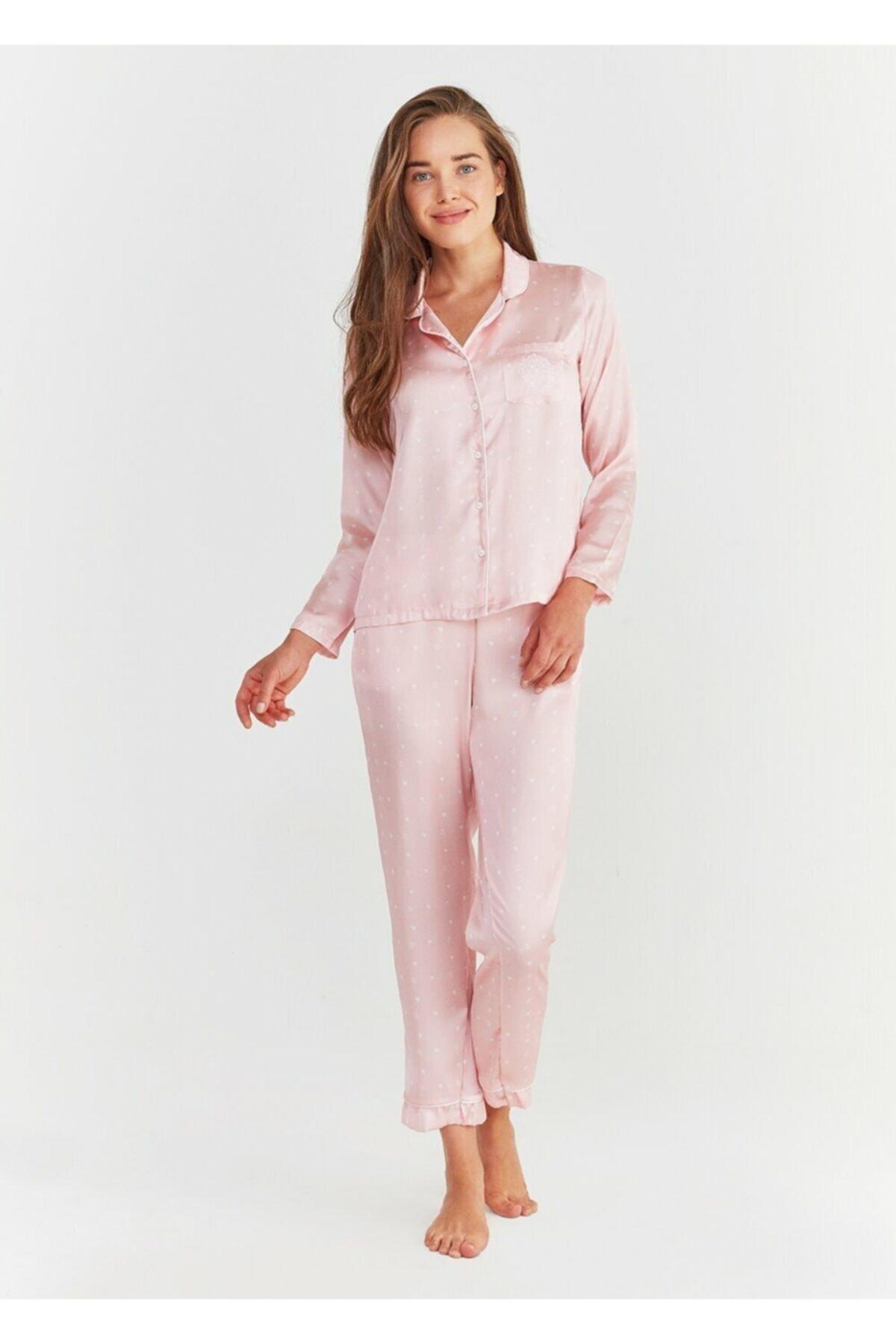 Suwen Kadın Pembe Baskılı New Elite Maskulen Pijama Takımı