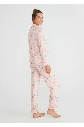 Suwen Kadın Pembe Baskılı Hug Me Maskulen Pijama Takımı 2