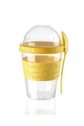 Titiz Yoğurt Kabı Kaşıklı Ve Meyve Bölmeli Sarı 0