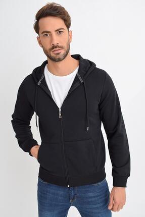 Tena Moda Erkek Siyah Kapüşonlu Fermuarlı Basic Sweatshirt 1