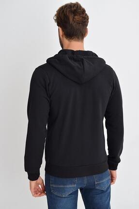 Tena Moda Erkek Siyah Kapüşonlu Fermuarlı Basic Sweatshirt 3