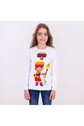 TakeTshirt Unisex Çocuk Beyaz Brawl Stars Amber Uzun Kollu Tişört 1