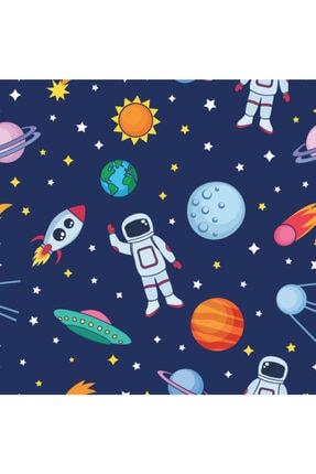 Alacastore Uzay Ve Astronot Desenli Çocuk Odası Dijital Baskı Fon Perde 1