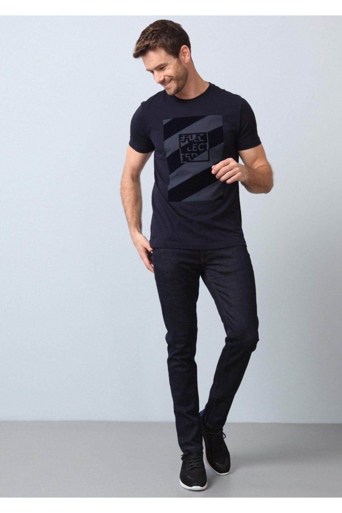 Ramsey Erkek Lacivert Baskılı Örme T - Shirt
