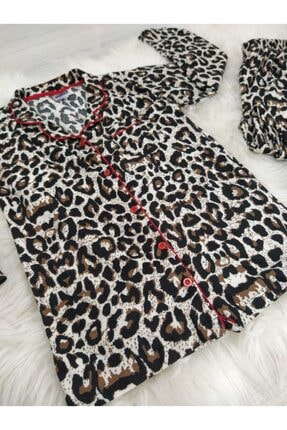 PİJABOOM Kadın Leopar Desenli Düğmeli Uzun Kol Süet Pijama Takımı 1