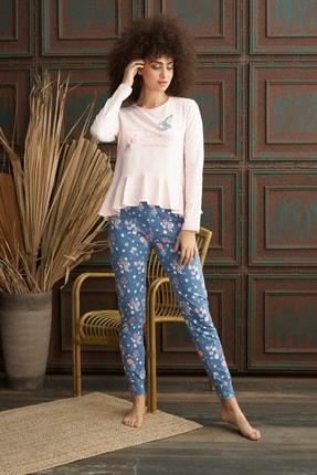 İPEKTENİM Kadın Pembe Fırfırlı Pijama Takım 0